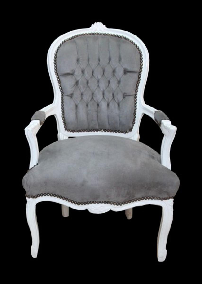 casa padrino barock salon stuhl grau wei st hle barock. Black Bedroom Furniture Sets. Home Design Ideas