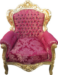"Casa Padrino Baroque Armchair ""King"" Bordeaux Bouquet Pattern / Gold with Bling Bling Glittering - Antique Furniture Style"