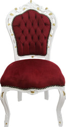 Casa Padrino Baroque dining chair Bordeaux / white with gold paint - antique style furniture