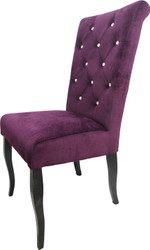 Casa Padrino Neo Baroque Dining Chair Purple / Black with Bling Bling Glittering - Design Furniture