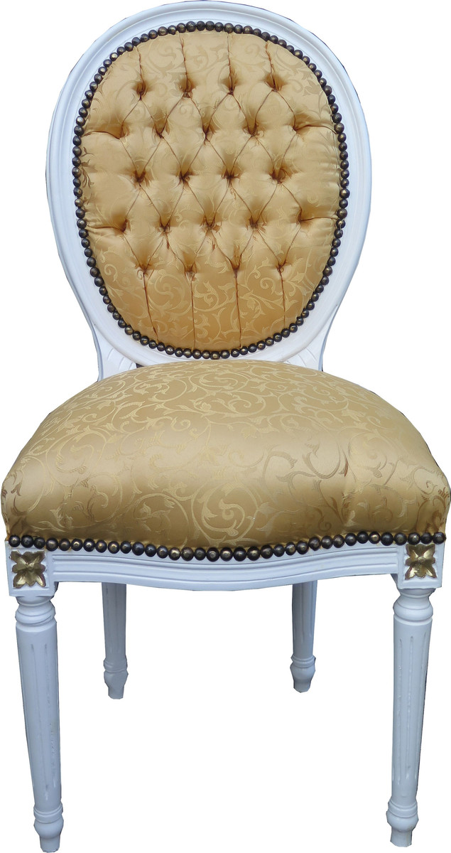 Casa Padrino Barock Esszimmer Stuhl Gold Muster Weiss Mit
