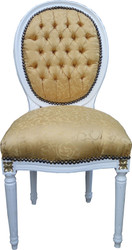 Casa Padrino Baroque Dining Chair Gold Pattern / White with Gold Paintwork Mod2 Round - Medallion Chair