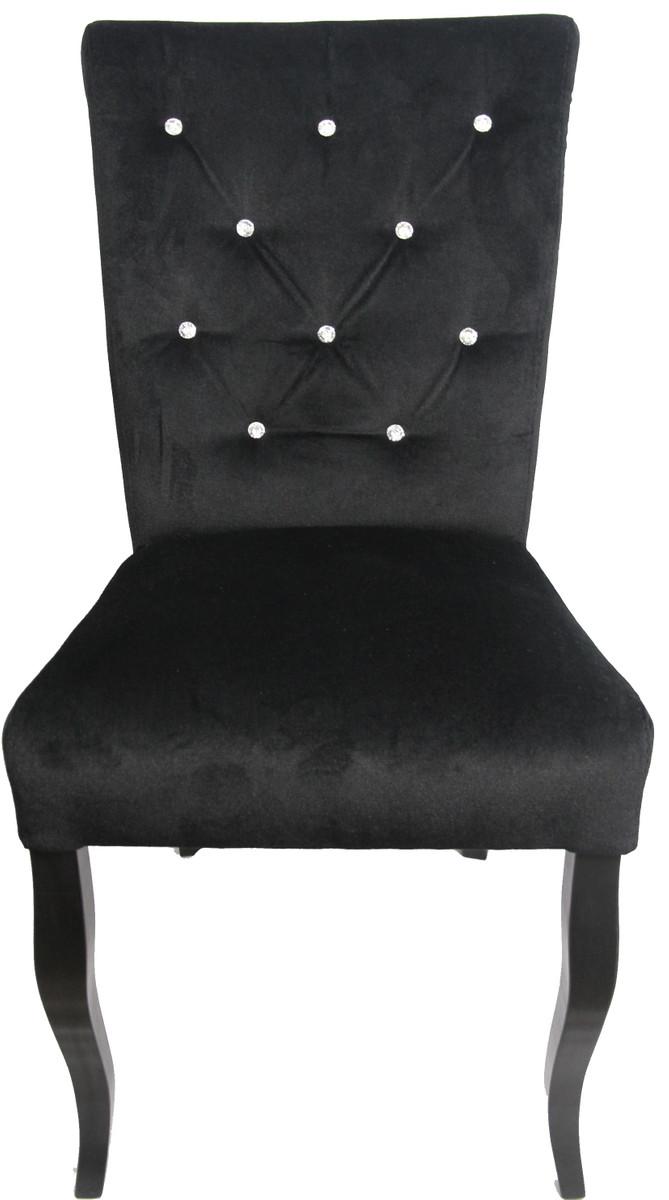 casa padrino neo barock esszimmer stuhl schwarz schwarz mit bling bling glitzersteinen. Black Bedroom Furniture Sets. Home Design Ideas