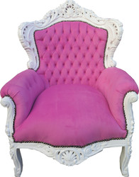 "Casa Padrino Baroque Armchair ""King"" rose / white  - furniture baroque"