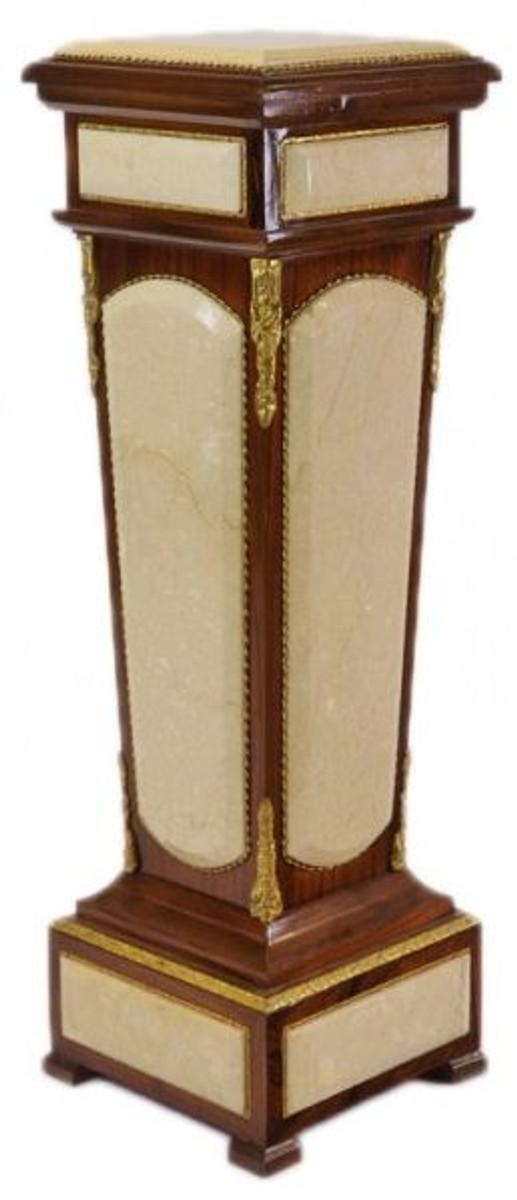 Casa Padrino Barock Säule Mahagoni / Creme mit Marmorbesatz 1