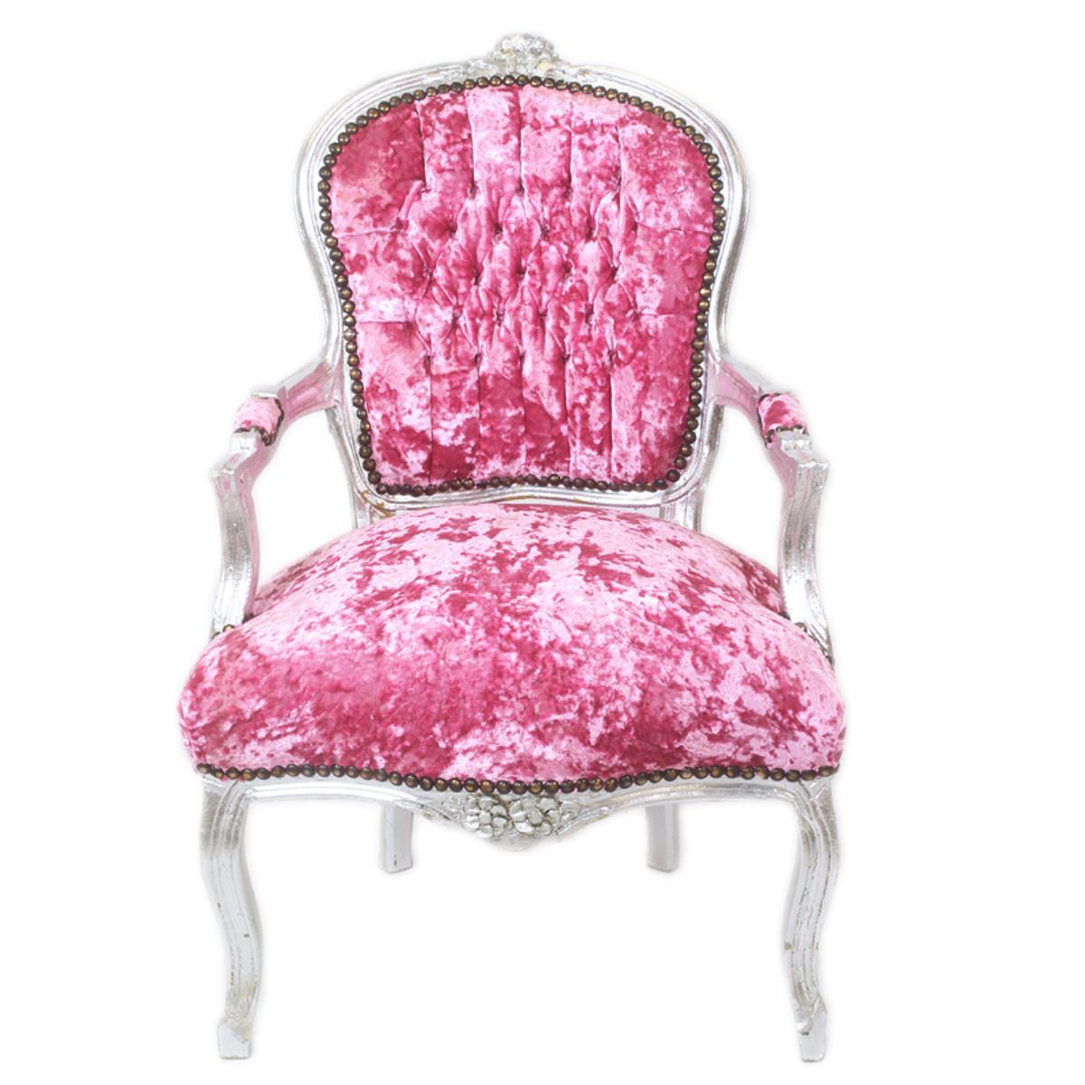 Casa padrino barock salon stuhl pink velour stoff silber antik design m bel st hle barock - Stoel dineren baroque ...