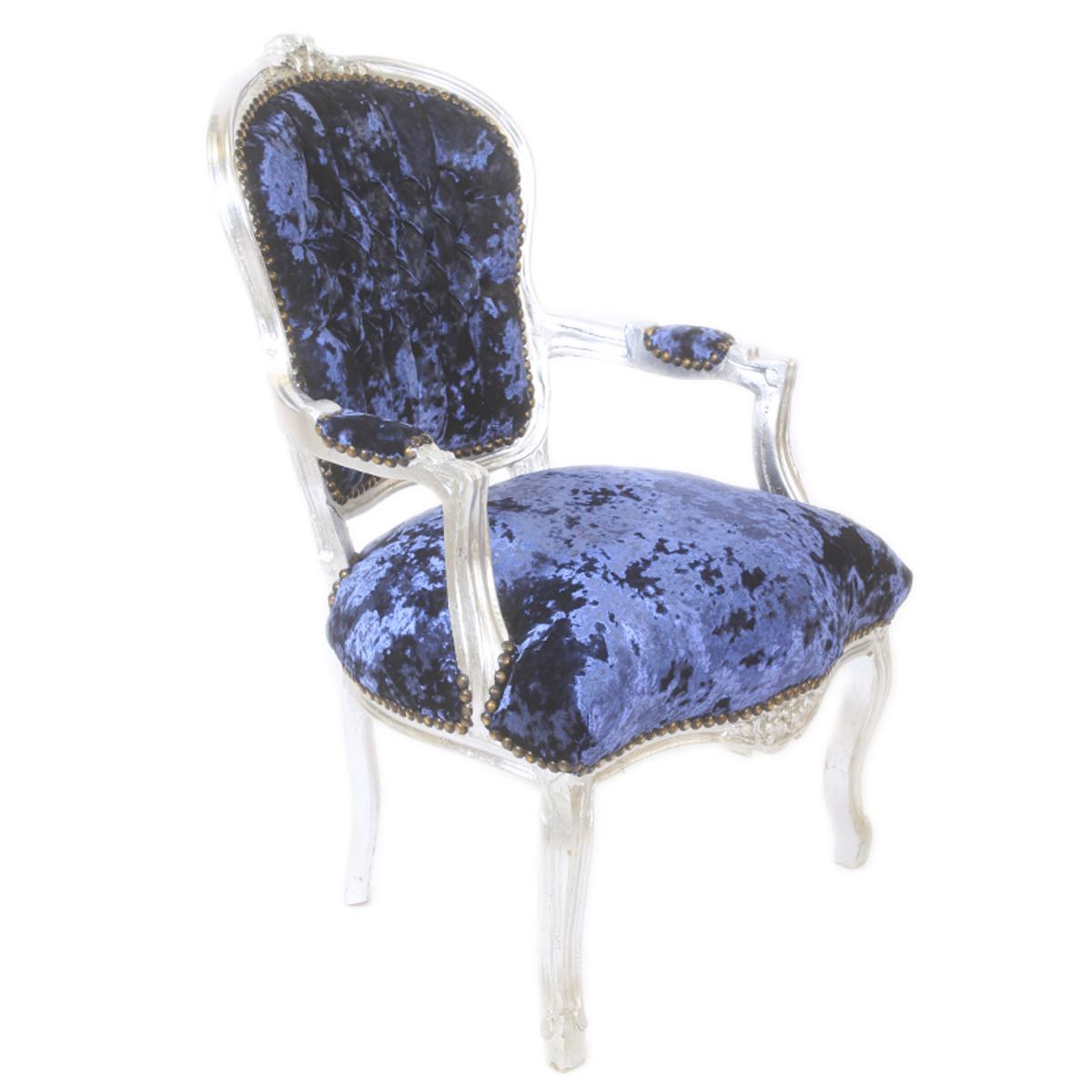 Casa padrino barock salon stuhl royalblau velour stoff silber antik design m bel st hle - Stoel dineren baroque ...