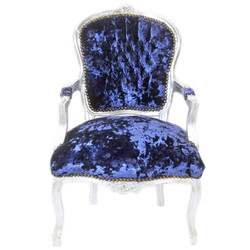 Casa Padrino Baroque Salon Chair Royal blue velor fabric / silver - antique design furniture