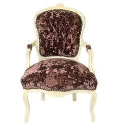 Casa Padrino Baroque Salon Chair Brown Velor Fabric / Cream - Antique Design Furniture