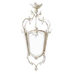 Casa Padrino antique style baroque ceiling hanging lamp 35 x 35 x H 70 cm - Glass / Silver - lantern hanging lantern