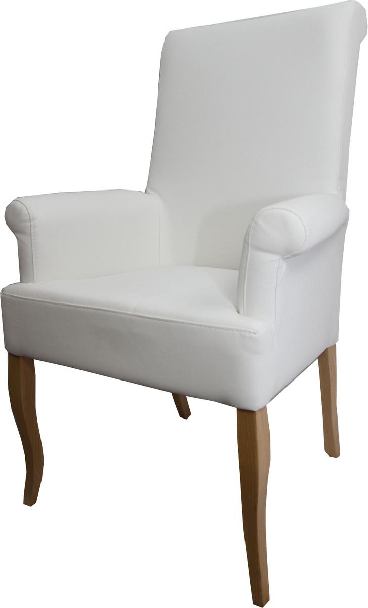 Sitzgruppe Esszimmer Weiss Honig: Casa Padrino Esszimmer Stuhl Weiß Kunstleder / Holzfarben
