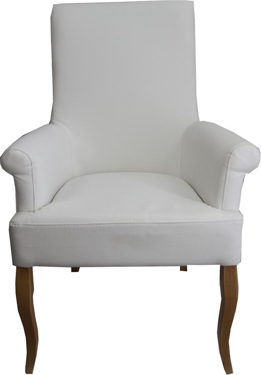 casa padrino esszimmer stuhl wei kunstleder holzfarben mit armlehnen barock m bel st hle. Black Bedroom Furniture Sets. Home Design Ideas