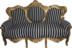 "Casa Padrino Baroque 3-seater sofa ""King"" Black / White Stripes / Gold - Baroque furniture"