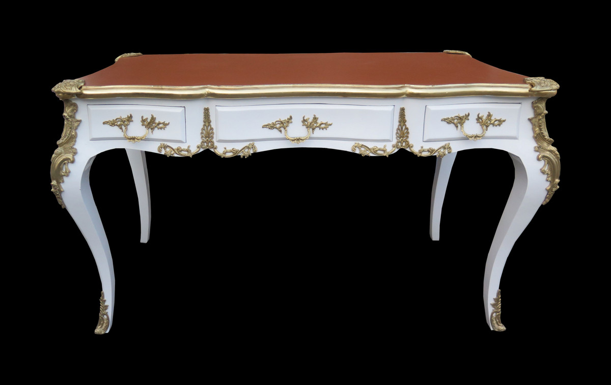 casa padrino luxus barock schreibtisch weiss gold. Black Bedroom Furniture Sets. Home Design Ideas