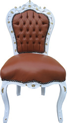 Casa Padrino Baroque Dining Chair Apricot-Brown Leather / White / Gold - Limited Edition