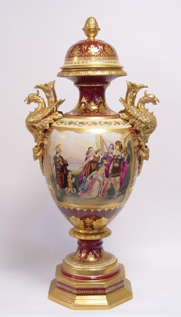 casa padrino luxus porzellan vase mit deckel h 85 cm edel prunkvoll dekoration. Black Bedroom Furniture Sets. Home Design Ideas