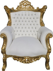 Casa Padrino baroque chair Al Capone white / gold with bling bling rhinstones