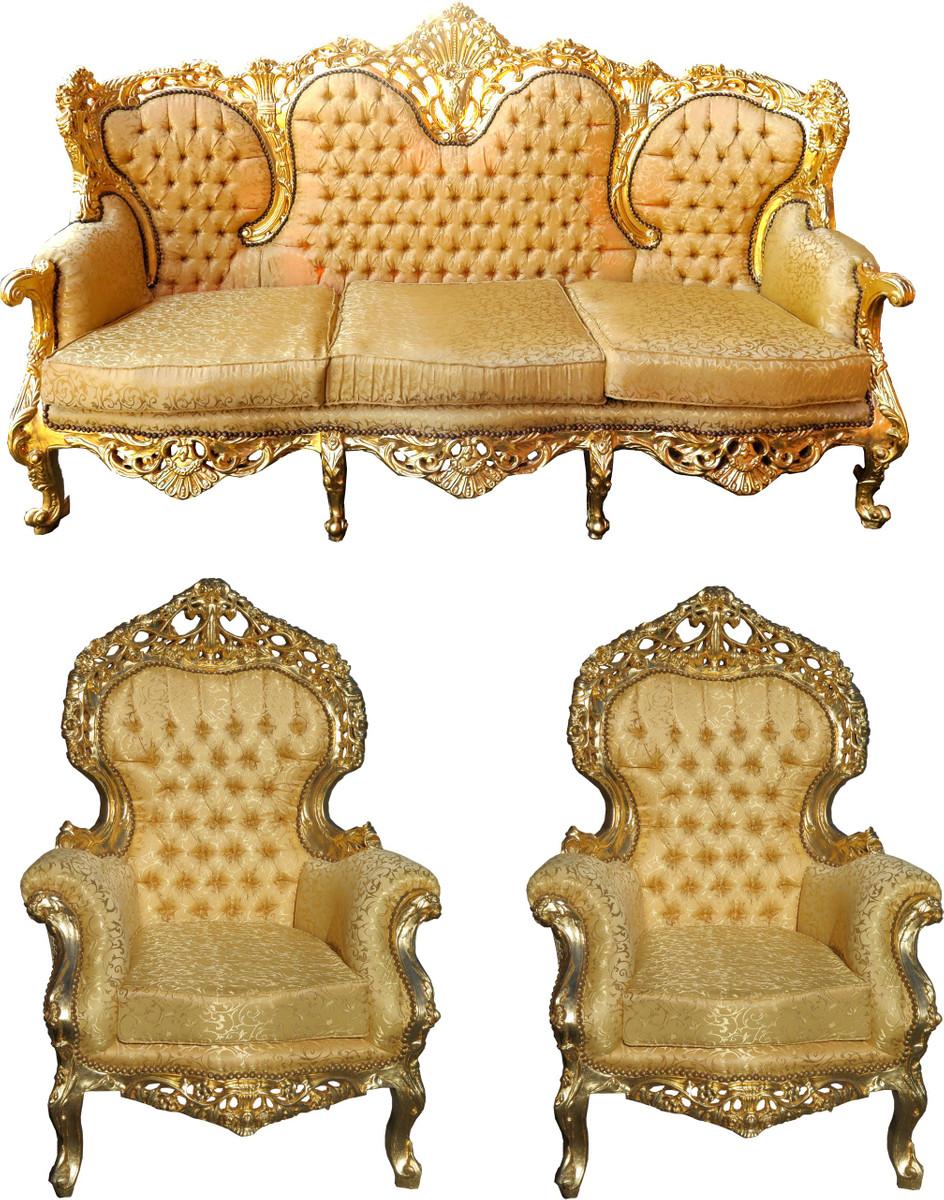 Casa Padrino Barock Wohnzimmer Set Versailles II Gold Muster / Antik Gold    3er Sofa + 2 Sessel