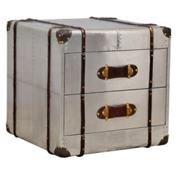 Casa Padrino luxury aluminum side table / chest with 2 drawers - art deco vintage furniture with leather handles