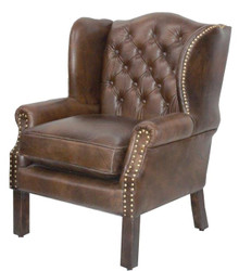 Luxury Genuine Leather Armchair Dark Brown 72 x 65 x H. 103 cm - Hotel Furniture - Chesterfield Leather Chair
