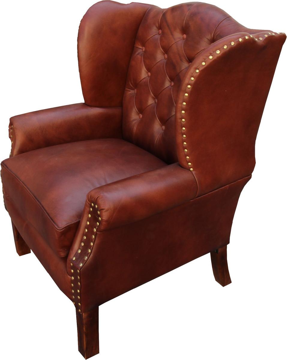 luxus echtleder chesterfield ohrensessel braun 72 x 65 x h. Black Bedroom Furniture Sets. Home Design Ideas