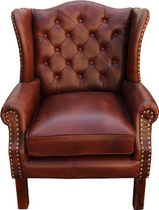 Fantastic Luxury Genuine Leather Armchair Brown 72 X 65 X H 103 Cm Hotel Furniture Chesterfield Lounge Chair Machost Co Dining Chair Design Ideas Machostcouk