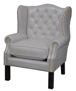 Luxus Echtleder Chesterfield Ohrensessel Weiß 72 X 65 X H 103 Cm