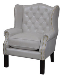 Luxury Genuine Leather Armchair White 72 x 65 x H. 103 cm - Hotel Furniture - Chesterfield Chair