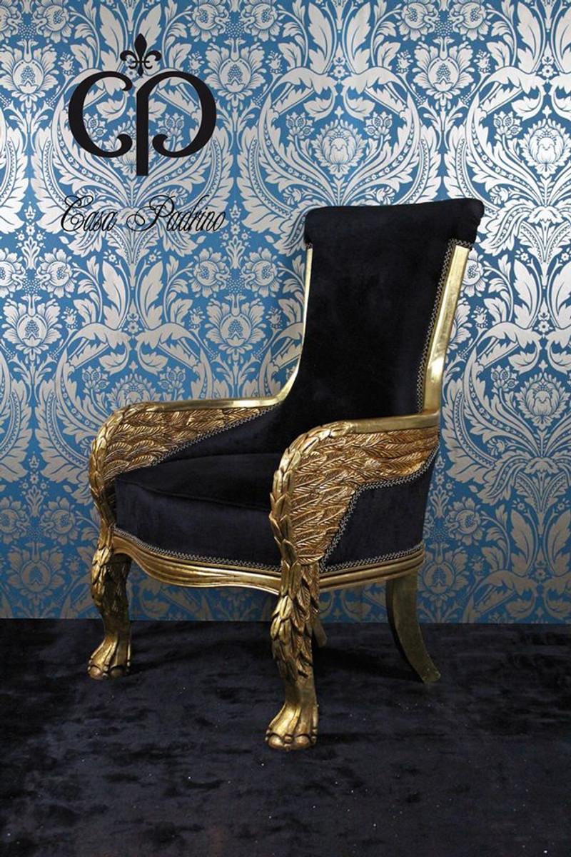 Casa Padrino Barock Lounge Sessel Eagle Feather Schwarz Gold Mobel