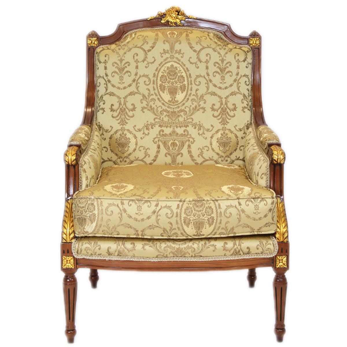 casa padrino barock lounge thron sessel empire gold muster mahagoni braun gold ohren. Black Bedroom Furniture Sets. Home Design Ideas