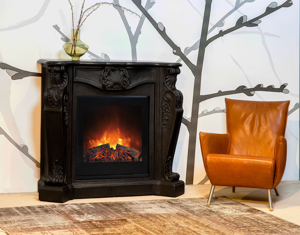 Casa Padrino Baroque Stone Fireplace Black With Electric Insert