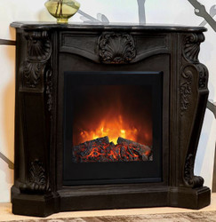 Casa Padrino Baroque stone fireplace Black with electric insert - Electric fireplace - Living room Antique style Art Nouveau fireplace