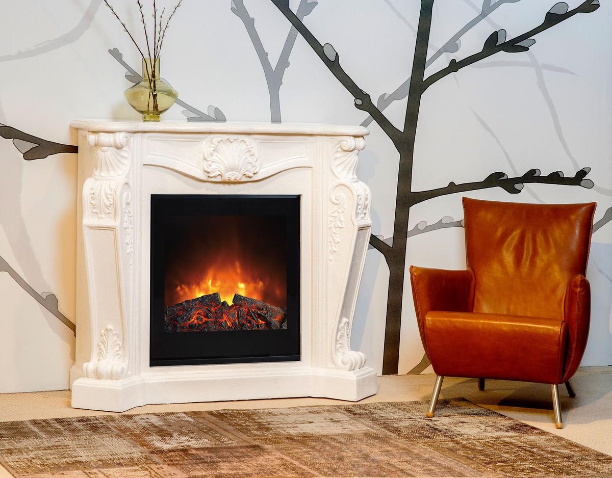 Casa padrino barock stein kamin creme mit elektroeinsatz for Nostalgie wohnzimmer