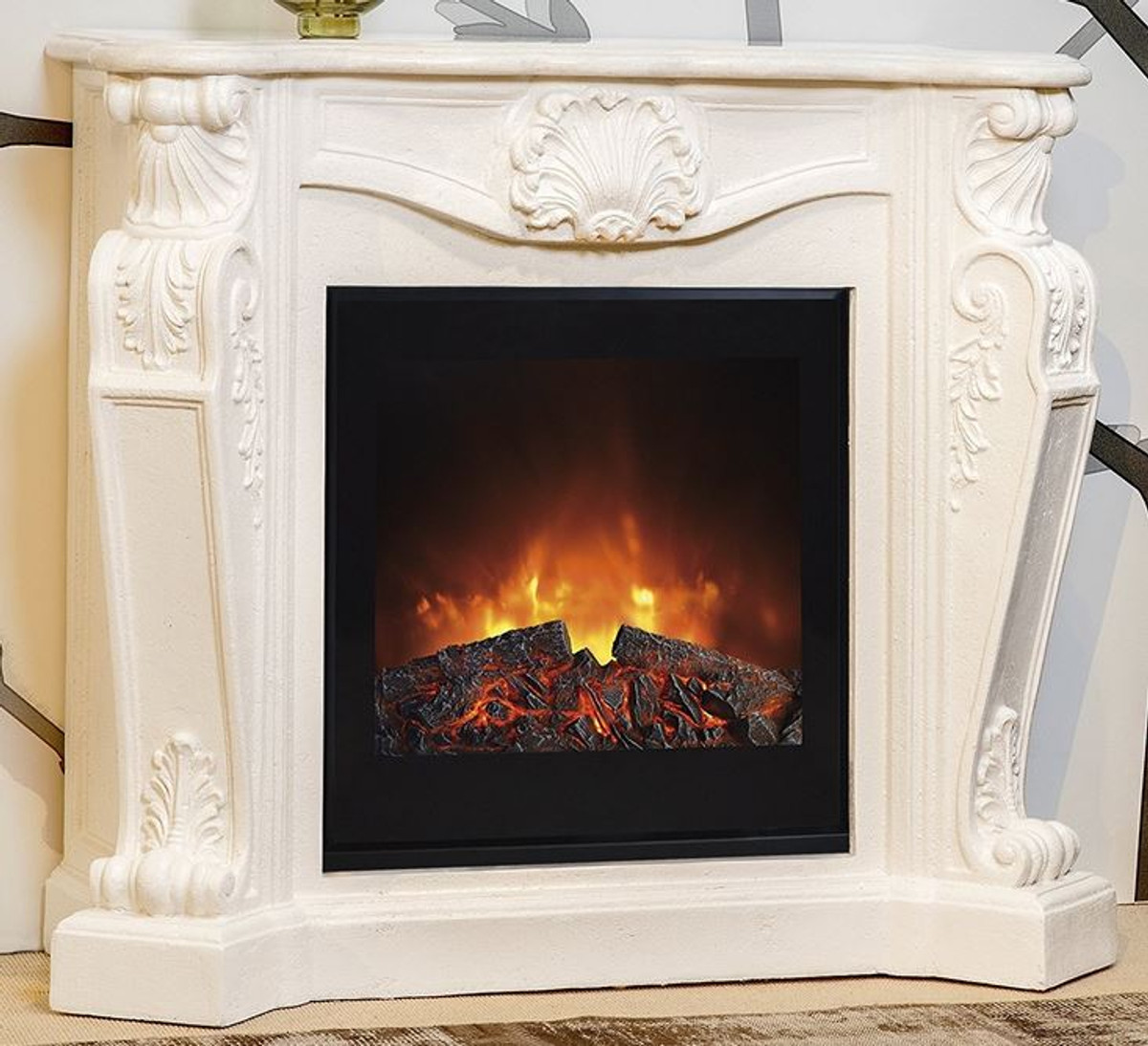 Casa Padrino Baroque Stone Fireplace Cream With Electric Insert