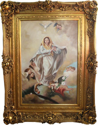 Handpainted Baroque oil painting Maria with angels gold display frame 130 x 100 x 10 cm - Solid material