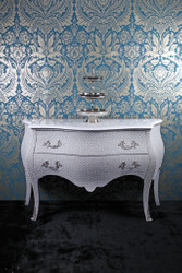 Casa Padrino Baroque Chest of Drawers White Glitterlook 120cm - Limited Edition
