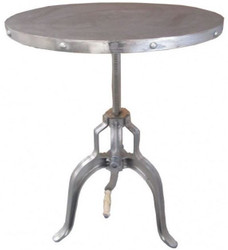 Casa Padrino Luxury Side Table Silver With Crank - Designer Hotel Furniture