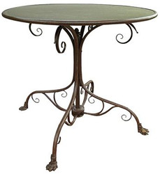 Casa Padrino Wrought Iron Garden Table Rust Diameter 80 x H. 70 cm - Art Deco Garden Table