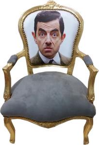 Casa Padrino Barock Salon Stuhl Face Grau Gold Limited