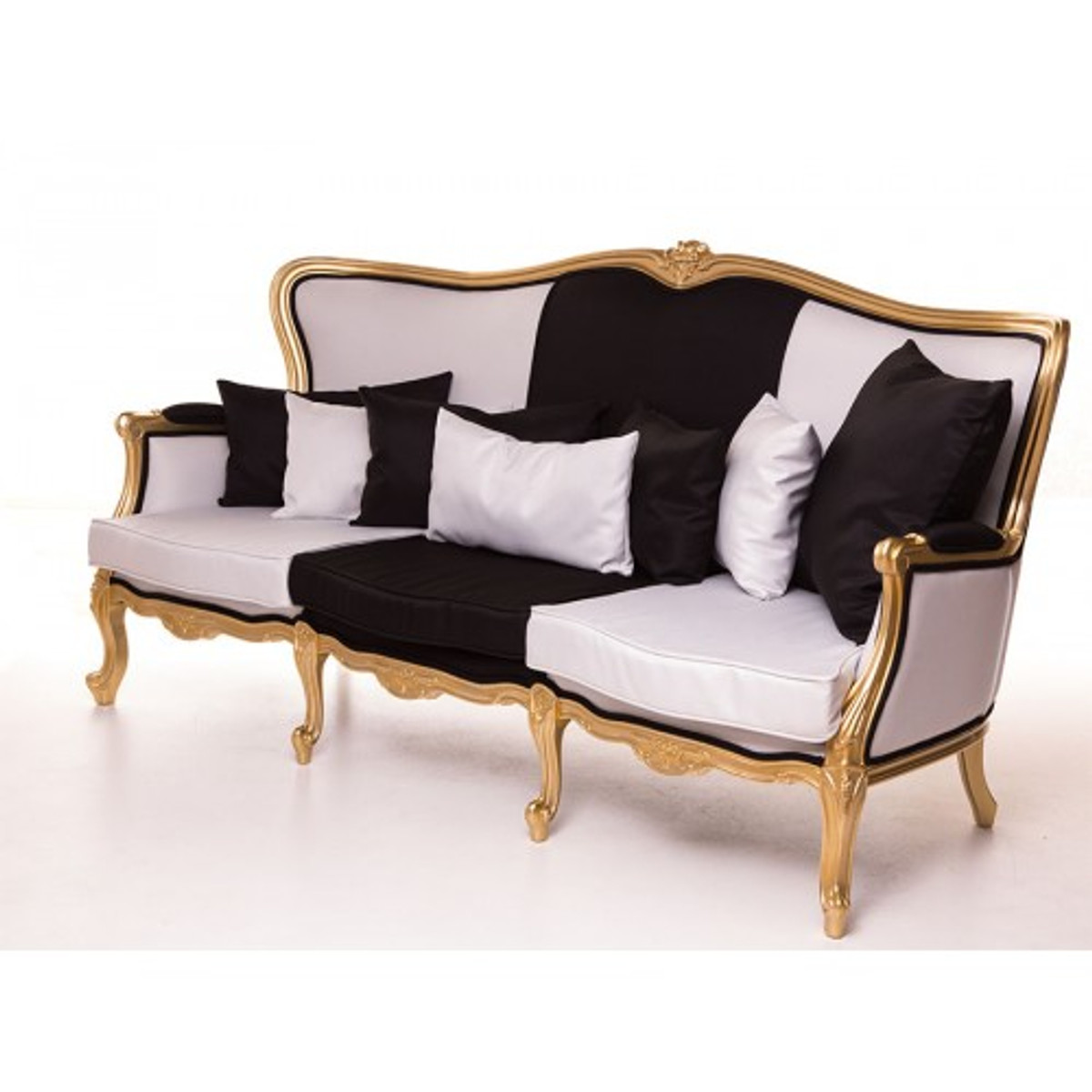 casa padrino luxus barock sofa schwarz wei gold 210 cm sitzbank m bel luxury hotel. Black Bedroom Furniture Sets. Home Design Ideas