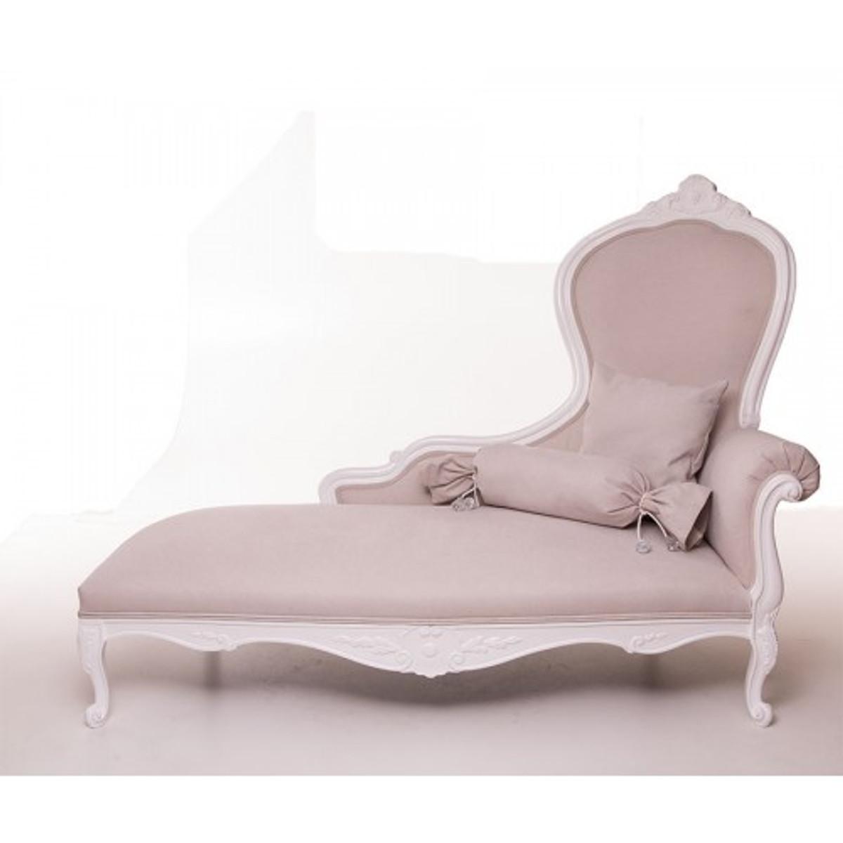 Casa Padrino Luxus Barock Chaiselongue Creme Altweiß Möbel