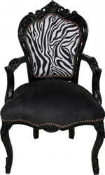Casa Padrino Baroque Dinner Chair Black / Zebra / Black with armrest