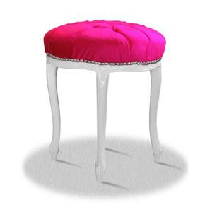 Casa Padrino Barock Sitzhocker Weiß Rosa Silber - Barock Rundhocker – Bild