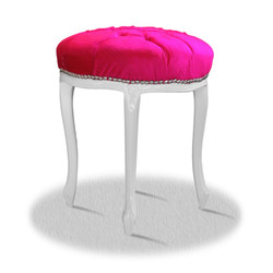 Casa Padrino baroque seating stool white pink silver - Baroque Round Stool