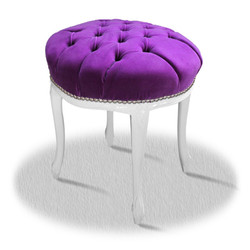 Casa Padrino baroque seating stool white purple silver - Baroque Round Stool