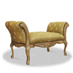 Casa Padrino baroque stool gold with floral patter 100 x 40 x H. 60 cm