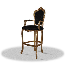 Casa Padrino baroque high chair bar chair gold black 55 x 50 x H. 140 cm - Limited Edition