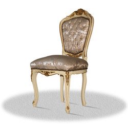 Casa Padrino baroque dining room chair creme gold silver - Antique Style Furniture