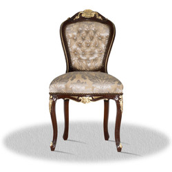 Casa Padrino baroque dining room chair brown gold silver - Antique Style Furniture