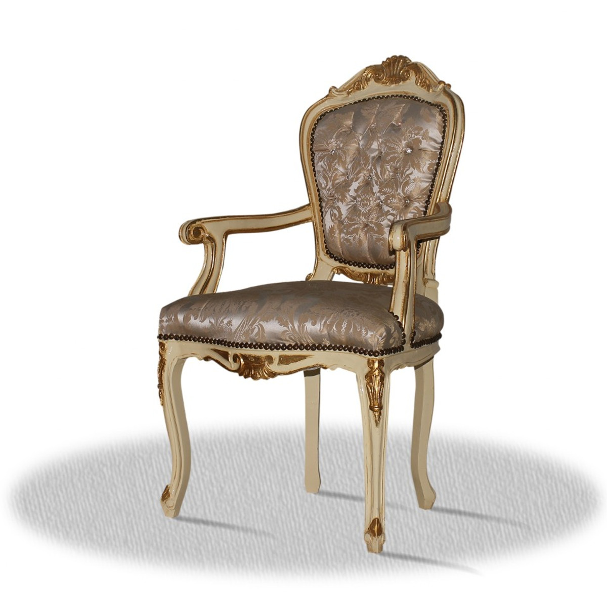 Casa padrino baroque dining room chair with armrests creme gold silver bild